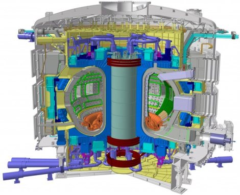 The incredibly complex ITER Tokamak will be nearly 30 metres tall, and weigh 23,000 tons. The very small man dressed in blue (bottom right) gives us some idea of the machine's scale. The ITER Tokamak is made up of an estimated one million parts. Image credit: ITER Organization 2011