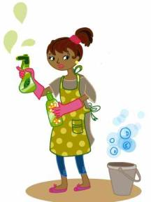 A woman using organic cleaning products