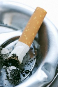 Cigarette end in an ashtray