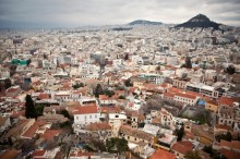 The sprawling city of Athens, Greece is viewed from the Acropolis