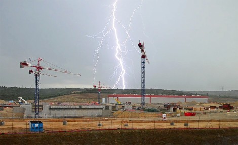 "Photo of the week, Newline 276 (July) ""It has been an unusual July so far in Provence. Thunderstorms have broken over the site almost every afternoon, causing work to be stopped until the storm front moves on."" Photo Credit: ITER.Org"