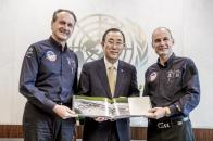 Across America_Solar Impulse at the UN_André Borschberg, UN Secretary General Ban Ki-Moon and Bertrand Piccard_09.07.2013