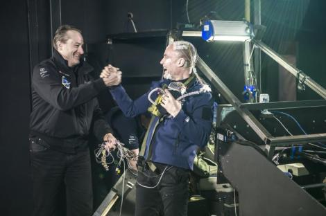 André Borschberg & Bertrand Piccard shaking hands after Bertrand successfully completes the 72h simulation © Solar Impulse | Revillard | Rezo.ch